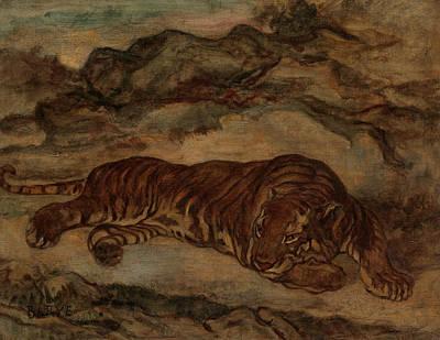 Painting - Tiger In Repose by Antoine-Louis Barye