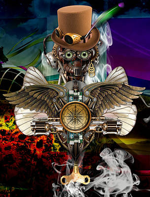 Steampunk Mixed Media - Time Traveler Art by Marvin Blaine