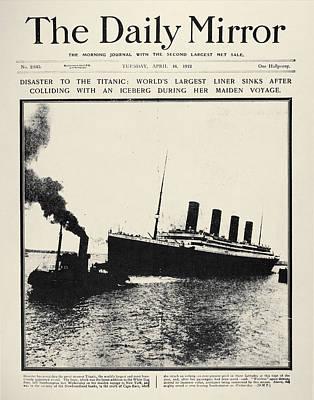 Photograph - Titanic Headline, 1912 by Granger