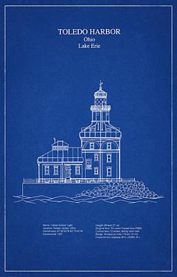 Drawing Digital Art - Toledo Harbor Lighthouse - Ohio - Blueprint Drawing by Jose Elias - Sofia Pereira
