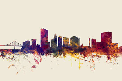 Toledo Digital Art - Toledo Ohio Skyline by Michael Tompsett