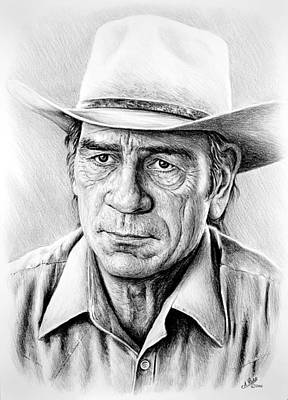 Celebrity Art Drawing - Tommy Lee Jones by Andrew Read