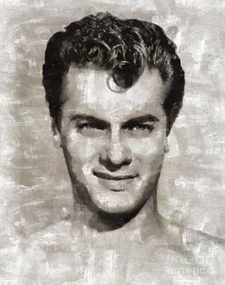 Elvis Presley Painting - Tony Curtis Vintage Hollywood Actor by Mary Bassett