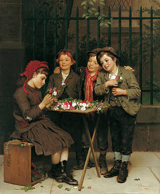 Puppy Love Painting - Tough Customers by John George Brown