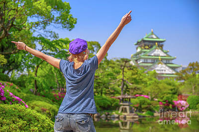 Photograph - Tourist At Osaka Castle by Benny Marty