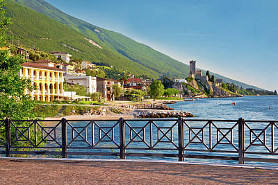 Photograph - Town Of Malcesine Castle And Waterfront View by Brch Photography
