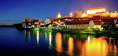Photograph - Town Of Ptuj And Drava River Evening Riverfront View by Brch Photography
