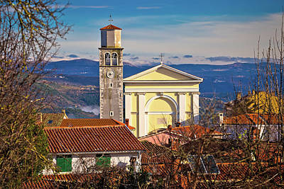 Photograph - Town Of Vizinada Church And Skyline Above Istrian Landscape View by Brch Photography