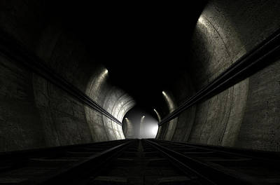 Rail Digital Art - Train Tracks And Approaching Train by Allan Swart