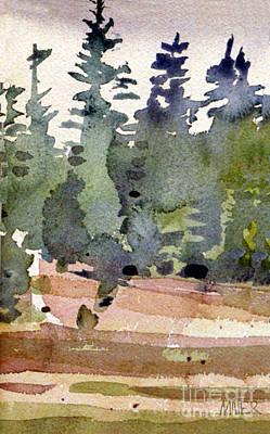 Pine Tree Painting - Treeline Study by Donald Maier