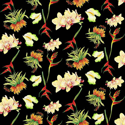 Sea Life Painting - Tropical Island Floral Half Drop Pattern by Audrey Jeanne Roberts