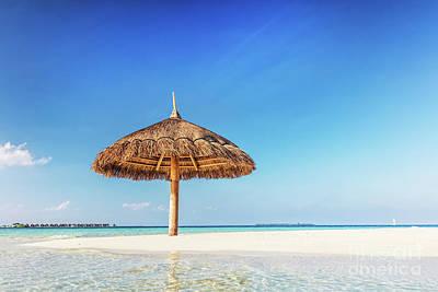 Photograph - Tropical Sandbank Island With Sunshade Umbrella. Indian Ocean, Maldives. by Michal Bednarek