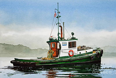 Tugboat Wall Art - Painting - Tugboat Lela Foss by James Williamson