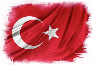 Turkish Flag Art Print by Les Cunliffe