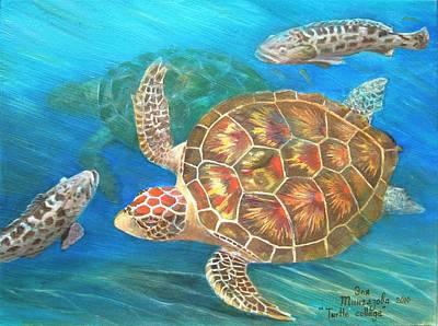 Turtle Collage Print by Eleonora Mingazova