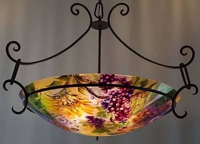 Reverse Hand Painted Glass Art - Tuscany Garden Hand Painted Chandelier By Jenny Floravita by Jenny Floravita