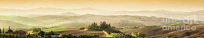 Photograph - Tuscany, Italy Landscape. Super High Quality Panorama Taken At Wonderful Sunrise by Michal Bednarek