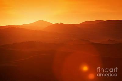 Tuscany Landscape At Sunrise Print by Michal Bednarek