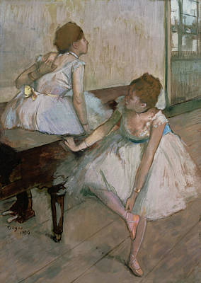 Degas Pastel - Two Dancers Resting by Edgar Degas