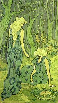 Orpheus Painting - Two Girls Next To The Head Of Orpheus by Paul Ranson