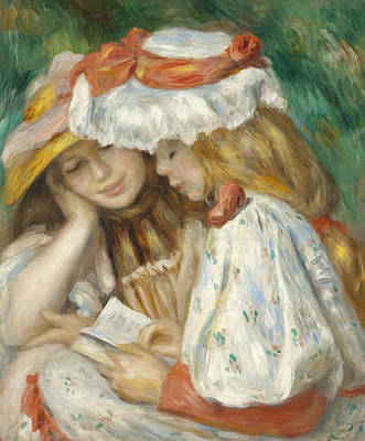 Two Girls Reading Art Print by Pierre Auguste Renoir
