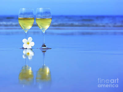 Wine Royalty-Free and Rights-Managed Images - Two glasses of white wine by MotHaiBaPhoto Prints