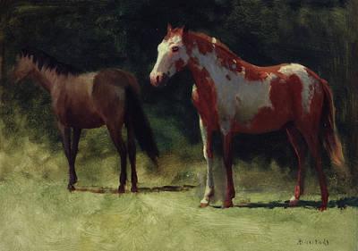 Two Horses Print by Albert Bierstadt