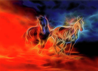 Digital Art - Two Horses by Lilia D