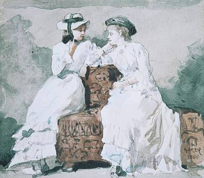 Realist Drawing - Two Ladies by Winslow Homer