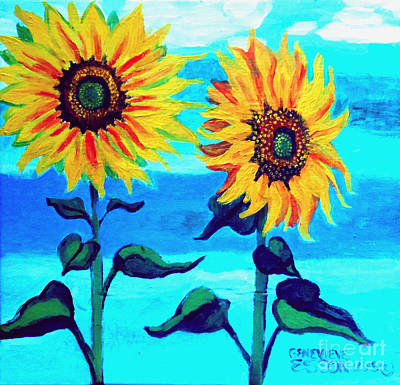 Painting - Two Sunflowers  by Genevieve Esson