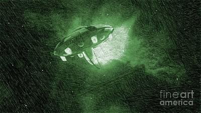 Fantasy Drawings - UFO in Space by Raphael Terra