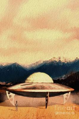 Science Fiction Royalty-Free and Rights-Managed Images - UFO Landing by Raphael Terra