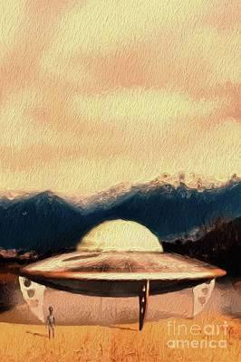 Science Fiction Paintings - UFO Landing by Raphael Terra