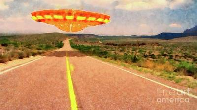 Stellar Interstellar - UFO Over Highway by Esoterica Art Agency
