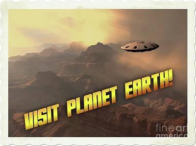 Ufo Postcards Home By Raphael Terra Art Print