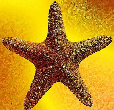 Underwater. Starfish. Art Print by Elena Kosvincheva