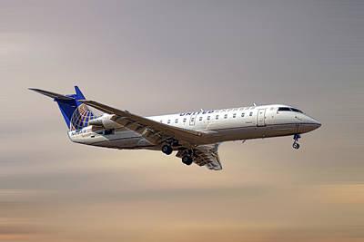 Mixed Media - United Express Bombardier Crj-200lr by Smart Aviation