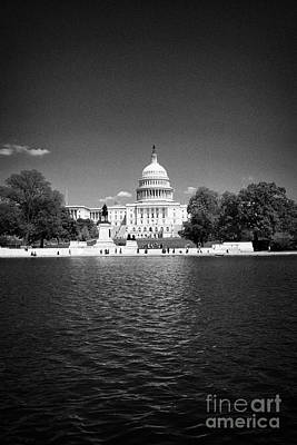 Capitol Reflecting Pool Photograph - United States Capitol Building And Capitol Reflecting Pool Washington Dc Usa by Joe Fox