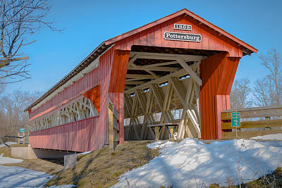 Music Royalty-Free and Rights-Managed Images - Upper Darby/Pottersburg  Covered Bridge by Jack R Perry