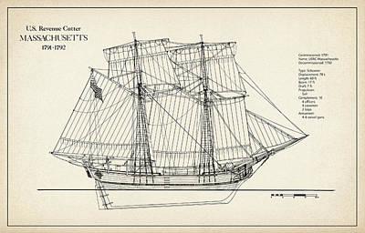Navy Digital Art - U.s. Coast Guard Revenue Cutter Massachusetts by Jose Elias - Sofia Pereira