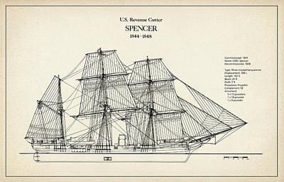 Tall Ship Digital Art - U.s. Coast Guard Revenue Cutter Spencer by Jose Elias - Sofia Pereira