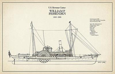 Historic Schooner Digital Art - U.s. Coast Guard Revenue Cutter William P. Fessenden by Jose Elias - Sofia Pereira