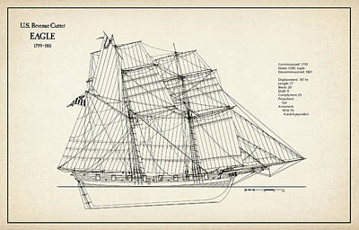 Tall Ship Digital Art - U.s. Revenue Cutter Eagle - 18th Century by Jose Elias - Sofia Pereira