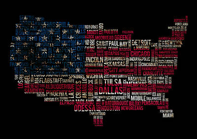 Usa Main Cities Flag Map Original by Cedric Darrigrand