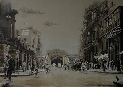 Painting - Valletta  Entrance  1941 by Tony Calleja