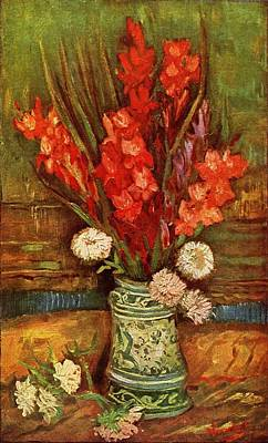 Painting - Vase With Red Gladioli  by Vincent Van Gogh
