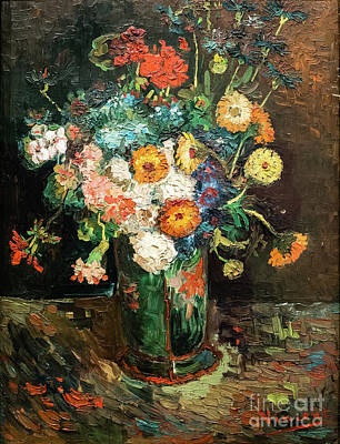Painting - Vase With Zinnias And Geraniums by Vincent Van Gogh