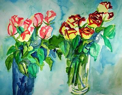 Painting - 2 Vases Of Roses by Rachel Rose