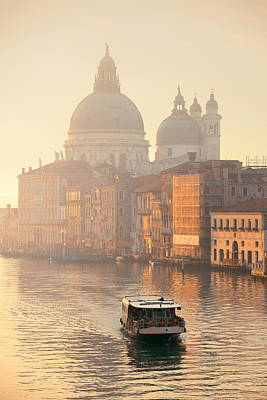 Photograph - Venice Grand Canal Sunrise And Boat by Songquan Deng