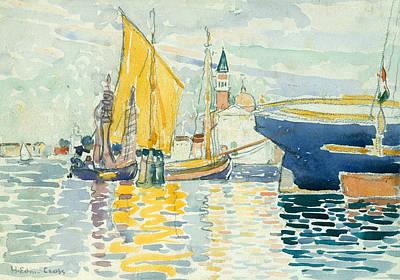 Pointillism Drawing - Venice-the Giudecca by Henri-Edmond Cross